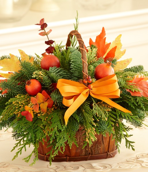 Giving thanks bark basket and other flowers plants at