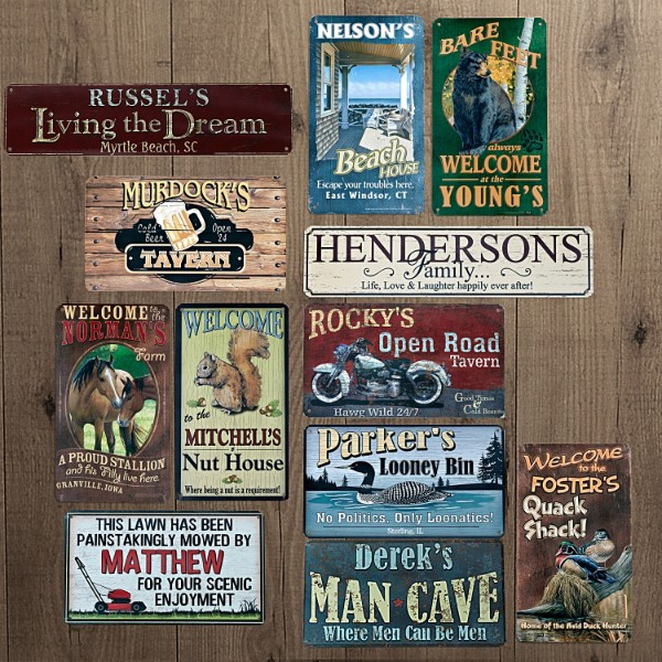 Man Cave Signs Canada : Rustic sign all new personalized metal signs canada