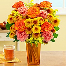 Save 30% on Autumn Harvest bouquet with Bronze vase, only $29.99 at ProFlowers