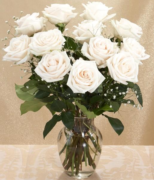 One Dozen Long-Stemmed White Roses